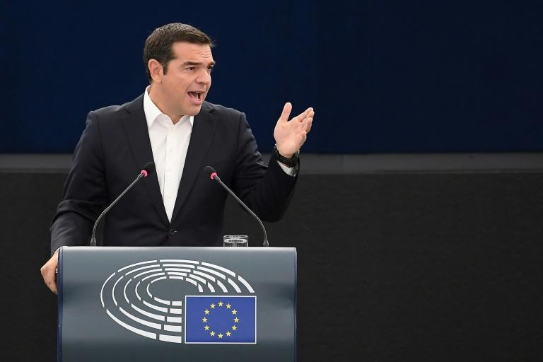 "Greek leftist Prime Minister Alexis Tsipras told the European parliament pro-European forces have ""a duty to stand side by side. We should not let Europe slide back to the past"""