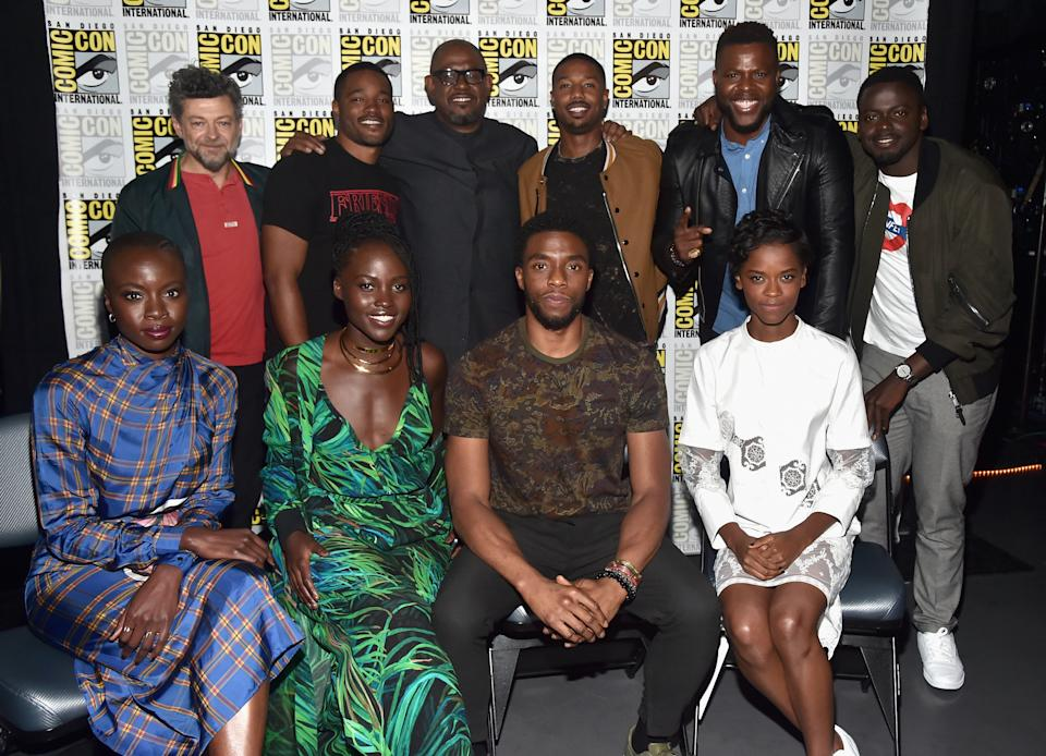 SAN DIEGO, CA - JULY 22:  (Back row L - R) Actor Andy Serkis, director Ryan Coogler, actors Forest Whitaker, Michael B. Jordan, Winston Duke, Daniel Kaluuya, (front row L - R) Danai Gurira, Lupita Nyong'o, Chadwick Boseman and Letitia Wright from Marvel Studios' 'Black Panther' at the San Diego Comic-Con International 2017 Marvel Studios Panel in Hall H on July 22, 2017 in San Diego, California.  (Photo by Alberto E. Rodriguez/Getty Images for Disney)