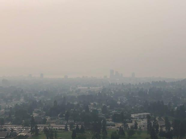 Wildfire smoke blankets Kelowna, B.C. The smoke from wildfires has covered parts of the Interior on and off for weeks already this summer. (Chris Walker/CBC - image credit)