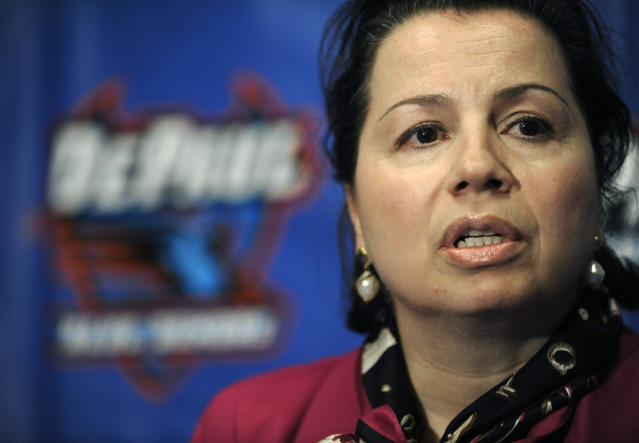 FILE - In this Jan. 11, 2010, file photo, DePaul athletics director Jean Lenti Ponsetto speaks with the media after DePaul head basketball coach Jerry Wainwright announced that he will be stepping down as the head coach during an press conference in Chicago. The longtime DePaul athletic director is retiring. Ponsetto, who played four sports at DePaul, has served as athletic director for the past 18 years and worked in other administrative positions with the athletic department for more than 20 years before that. (AP Photo/Paul Beaty, File)