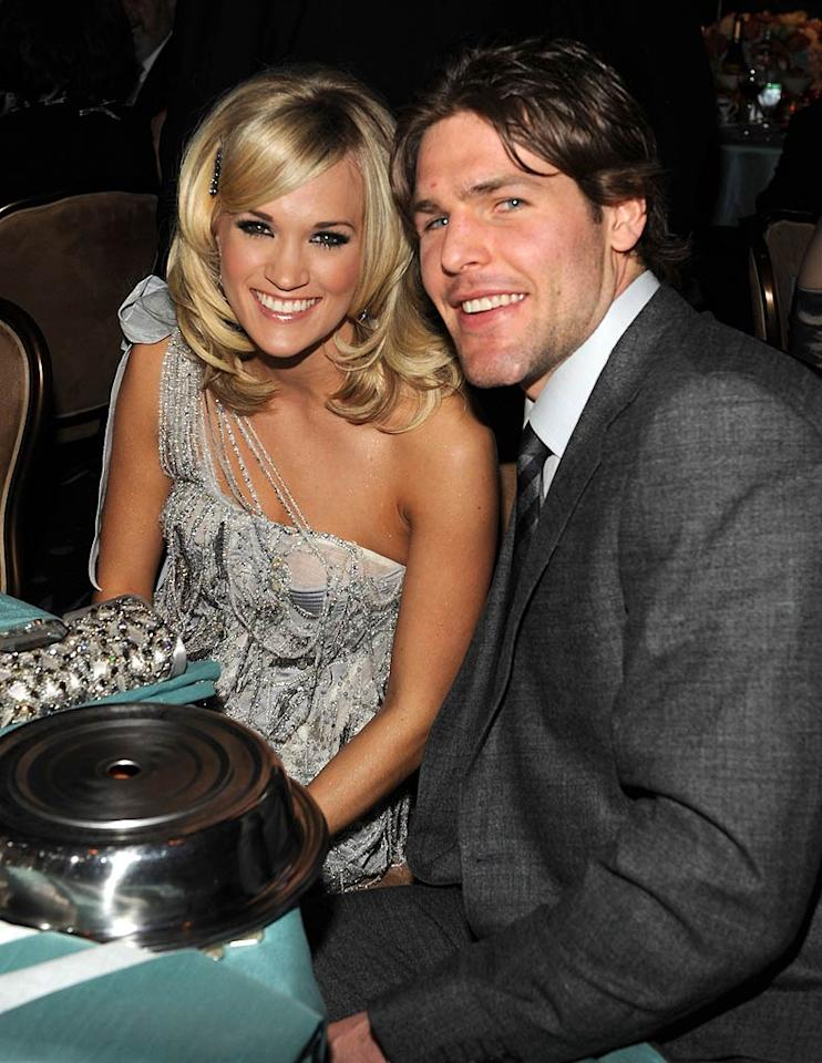 "Country cutie Carrie Underwood gushed about her guy, pro hockey player and now hubby Mike Fisher, in the liner notes of her CD <i>Play On</i>: ""You are the most amazing addition to my life! You are such a wonderful person and have had such an amazing hand in the building of this album and in the growth of me as a person,"" she wrote. ""I love you so much! You make my life better in every way! I thank God for you every day... xoxo, Carrie."" Aw! Kevin Mazur/<a href=""http://www.wireimage.com"" target=""new"">WireImage.com</a> - January 30, 2010"
