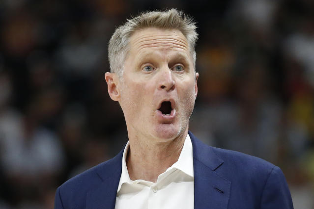 Golden State Warriors head coach Steve Kerr shouts to his team in the first half during an NBA basketball against the Utah Jazz, Friday, Dec. 13, 2019, in Salt Lake City. (AP Photo/Rick Bowmer)