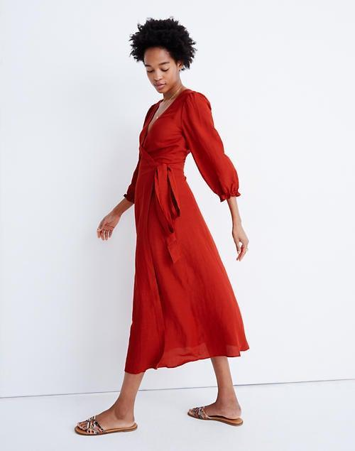 <p>Bring the drama in this pretty <span>Madewell Linen-Blend Ruffle-Cuff Wrap Dress</span> ($85, originally $128).</p>