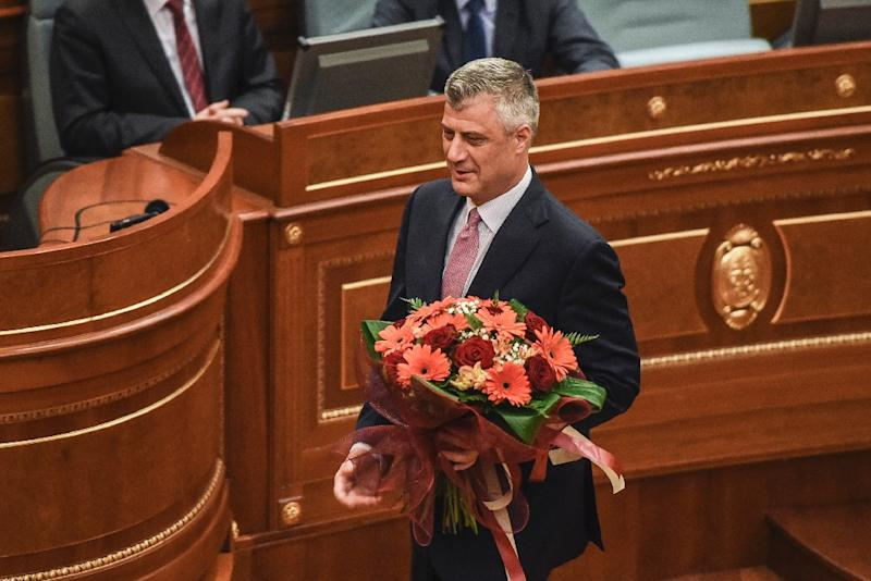 Hashim Thaci was elected as Kosovo's president in February in a vote marred by violent protests (AFP Photo/Armend Nimani)