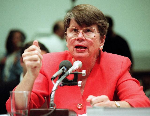 <p>Janet Reno became the first female U.S. attorney general when President Bill Clinton appointed her in 1993. She died at age 78 on November 7. — (Pictured) Attorney General Janet Reno testifies before the house panel investigating the 1993 standoff between federal agents and members of the Branch Davidian cult in Waco, Texas. Reno said the decision to use tear gas to end the standoff was not a decision of the White House, but a decision made in the law enforcement arena. (Harry Hamburg/NY Daily News Archive via Getty Images) </p>