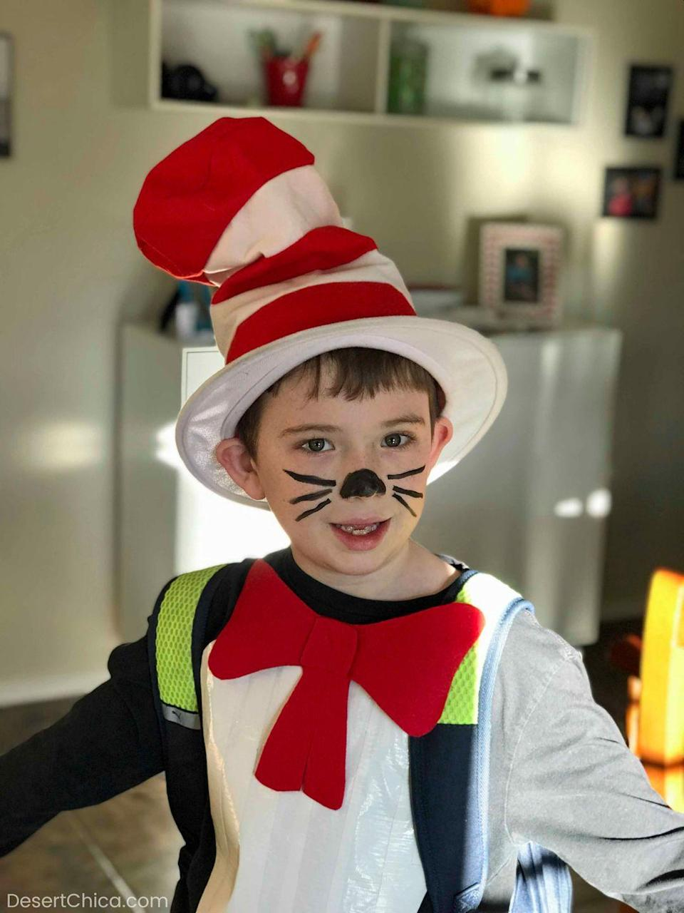 "<p>The nose and whiskers on this Cat in the Hat costume couldn't be easier to do. It only takes one color!.<br><br><em><a href=""https://desertchica.com/cat-in-the-hat-costume/"" rel=""nofollow noopener"" target=""_blank"" data-ylk=""slk:See more at Desert Chica »"" class=""link rapid-noclick-resp"">See more at Desert Chica »</a></em><strong><br></strong></p><p><strong>RELATED: </strong><a href=""https://www.goodhousekeeping.com/beauty/makeup/a22995483/cat-makeup/"" rel=""nofollow noopener"" target=""_blank"" data-ylk=""slk:We're Obsessed With This Easy Cat Makeup Tutorial"" class=""link rapid-noclick-resp"">We're Obsessed With This Easy Cat Makeup Tutorial</a></p>"