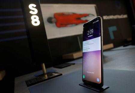 A Samsung Electronics' Galaxy S8 smartphone is seen on display at its booth in Pyeongchang