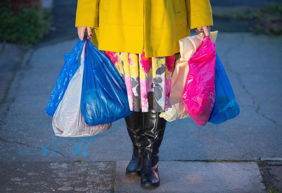 The average person in England bought around 140 single-use bags in 2014PA Wire