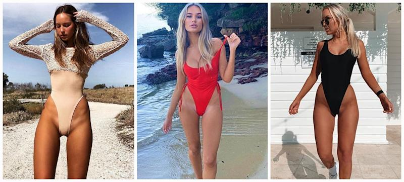 Described as 'fanny floss' these super high cut swimsuits are only for the boldest of beach-goers. Photo: Instagram/Tahlia Skaines/Indi Thew/Olivia Mathers