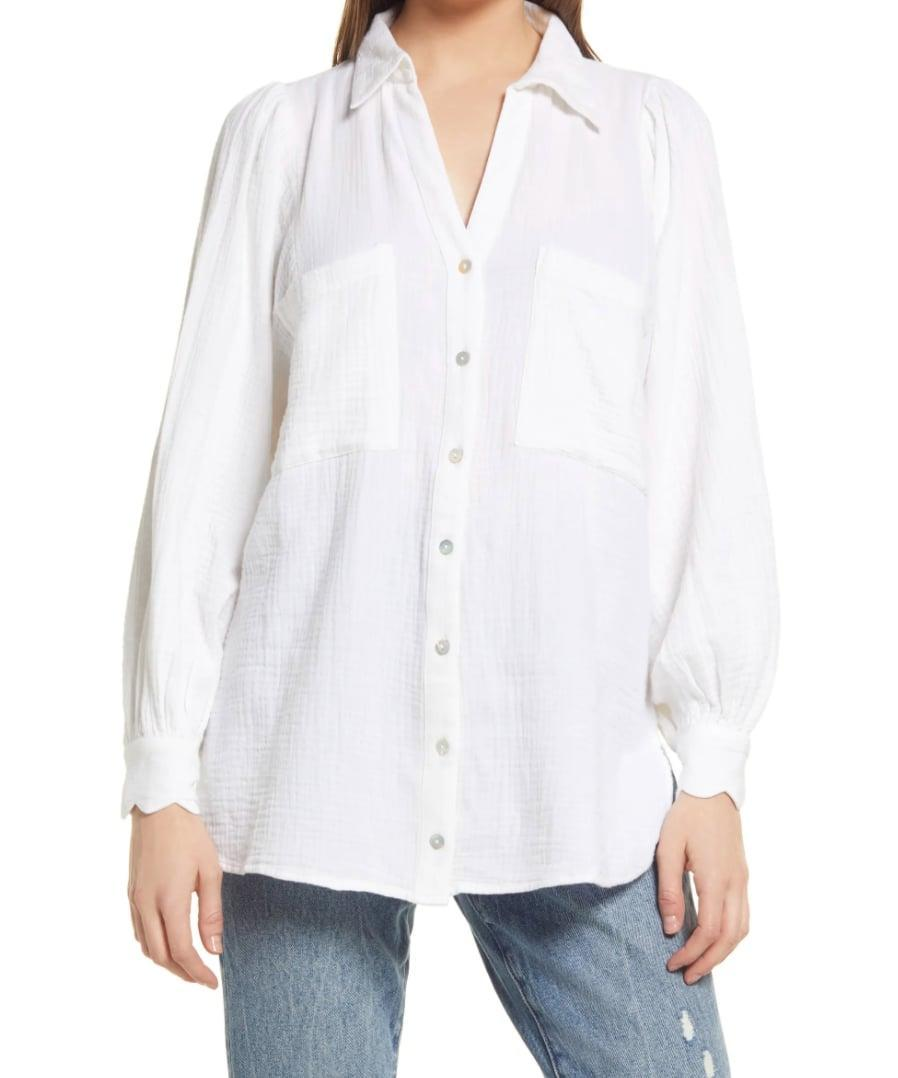<p>Anyone who is on the hunt for the basics will fall in love with the <span>Topshop Cotton Gauze Button-Up Shirt</span> ($45). In addition to being affordable, it has a cool, crinkled effect that will give your outfit an effortlessly chic edge.</p>