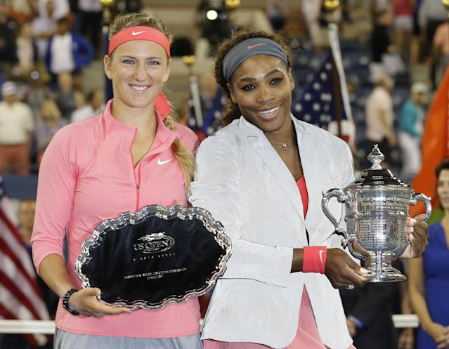 Victoria Azarenka, of Belarus, left, poses with Serena Williams after losing to her during the women's singles final of the 2013 U.S. Open tennis tournament, Sunday, Sept. 8, 2013, in New York. (AP Photo/Darron Cummings)