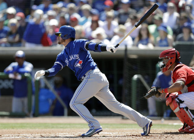 FILE - In this March 16, 2018, file photo, Toronto Blue Jays' Josh Donaldson singles off Philadelphia Phillies starting pitcher Vince Velasquez during the first inning of a spring training baseball game in Clearwater, Fla. Catching for the Phillies is Jorge Alfaro. At the end of the season, Donaldson expects to join a free agent class that could also include fellow sluggers Bryce Harper and Manny Machado. Before then, however, Donaldson is determined to lead Toronto to the playoffs for the third time in four years. (AP Photo/Chris O'Meara, File)