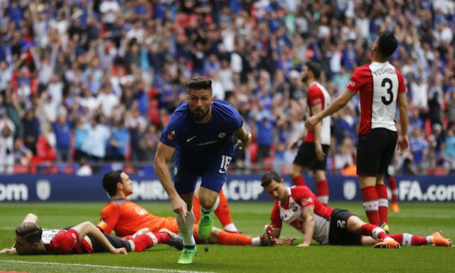 Olivier Giroud left Southampton defenders floored with his opening goal at Wembley.