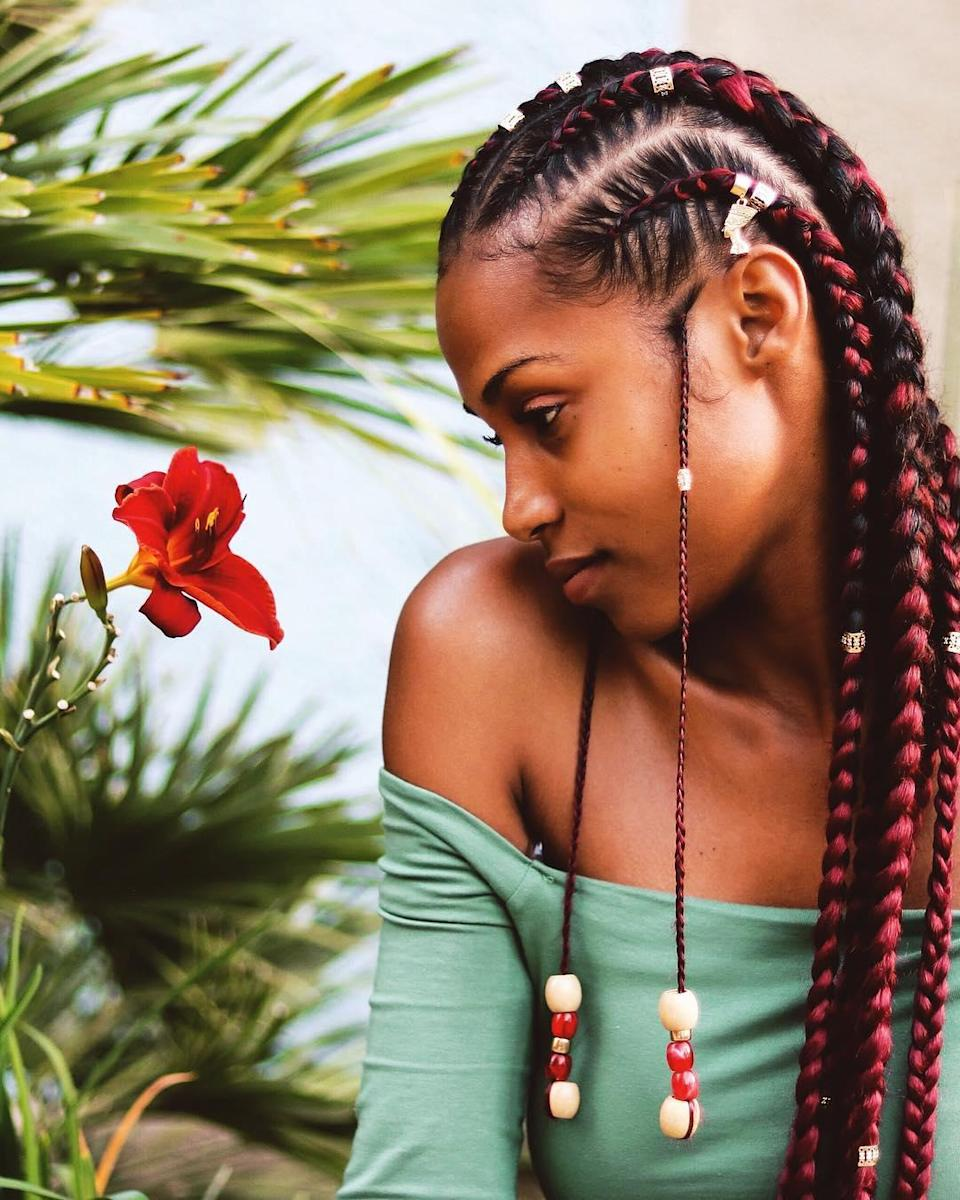 These braids are so bright and fun. The multicolored beads and golden cuffs really complete the look.