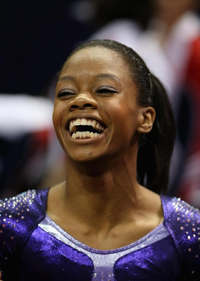 SAN JOSE, CA - JULY 01: Gabrielle Douglas reacts after finishing the floor exercise during day 4 of the 2012 U.S. Olympic Gymnastics Team Trials at HP Pavilion on July 1, 2012 in San Jose, California. (Photo by Ezra Shaw/Getty Images)