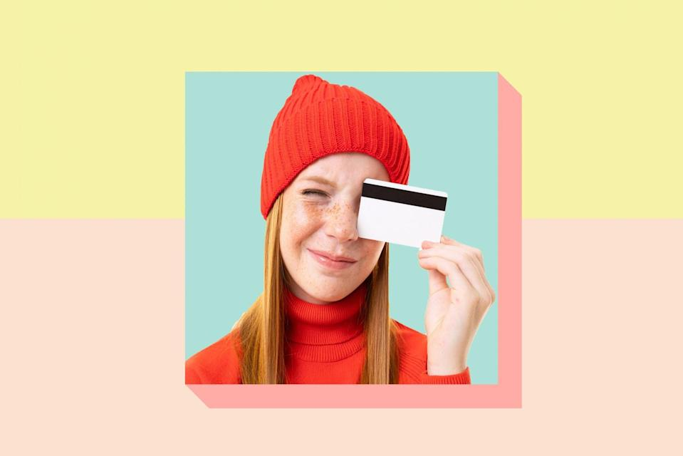 An image of a teenager with a credit card on a colorful background.