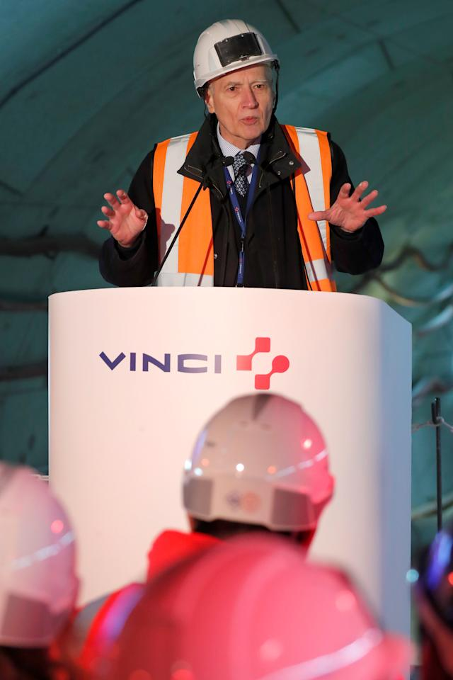 """Vinci Chairman and Chief Executive Officer Xavier Huillard delivers his New Year wishes on the site of the future metro stations """"Aime Cesaire"""" and """"Mairie d'Aubervilliers"""" as part of the line 12 extension in Aubervilliers near Paris, France, January 16, 2018.   REUTERS/Charles Platiau"""