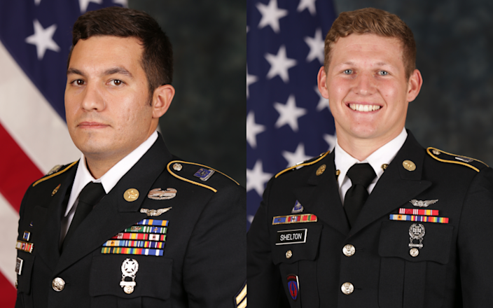 "Staff Sgt. Vincent Marketta, left, and Sgt. Tyler Shelton were killed Thursday when their Army Black Hawk helicopter crashed on San Clemente Island during training. <span class=""copyright"">(U.S. Army)</span>"