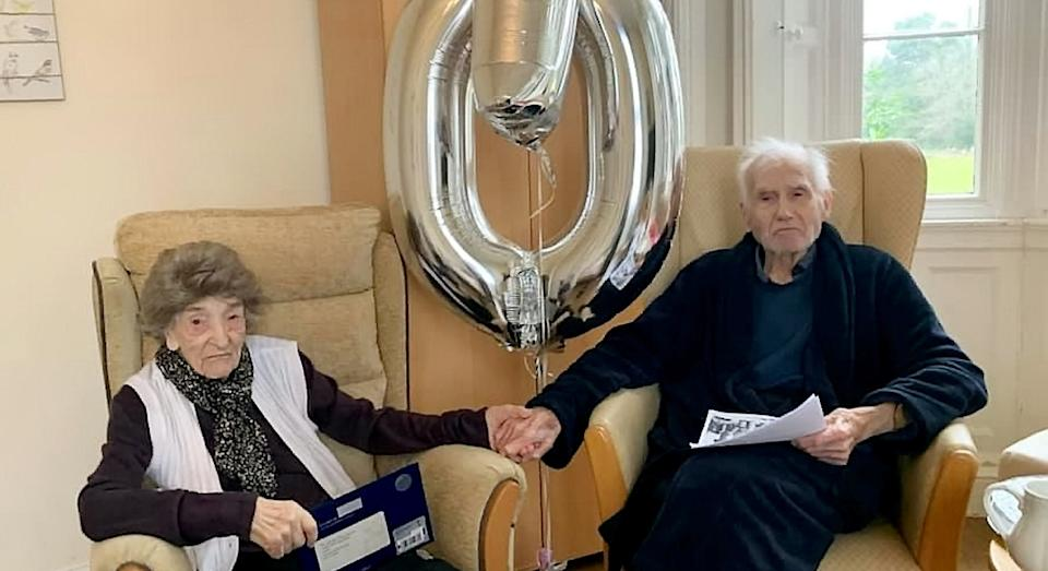 The pair celebrated their 70th anniversary in the care home (SWNS)