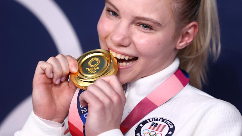 Jade Carey's Olympic gold medal on the floor routine was made all the more special by what happened in her previous individual event. (REUTERS/Lindsey Wasson)
