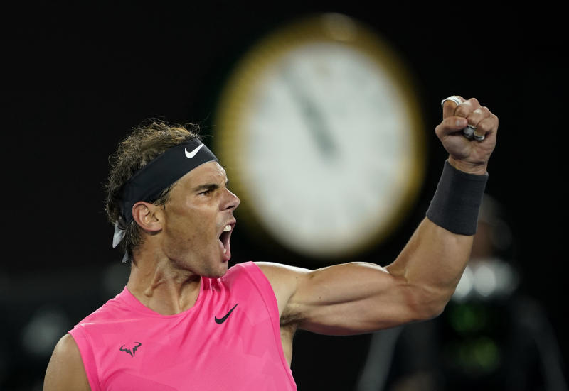 Rafael Nadal beat Nick Kyrgios to advance to the quarterfinals of the Australian Open. (REUTERS/Kim Hong-Ji)
