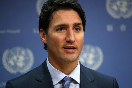 Canadian Prime Minister Justin Trudeau participates in a press briefing during the 71st Session of the United Nations General Assembly in Manhattan, New York