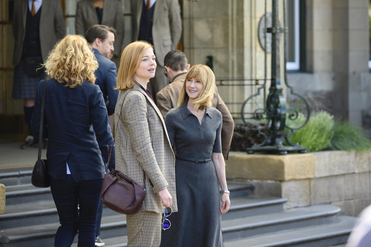 """In episode eight, Shiv means business. She's been crossed by Rhea Jarrell (Holly Hunter) and is out for blood. Shiv experiments a lot with suit-like pieces—trousers, the occasional blazer—but this is one of the few times we see her in a full-out monochrome power suit. The blazer is oversized (as we're currently seeing them worn) and is in keeping with Shiv's fresh, modern spin on universal classics. Add in the the aviators, and the whole look screams """"Don't fuck with me."""""""