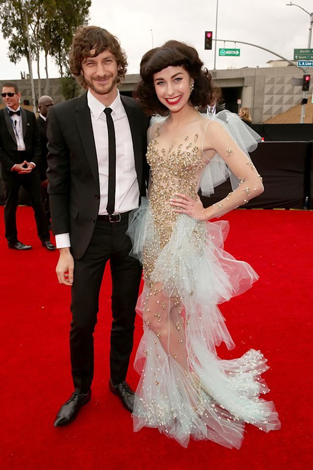 Gotye (L) and Kimbra arrive at the 55th Annual Grammy Awards at the Staples Center in Los Angeles, CA on February 10, 2013.