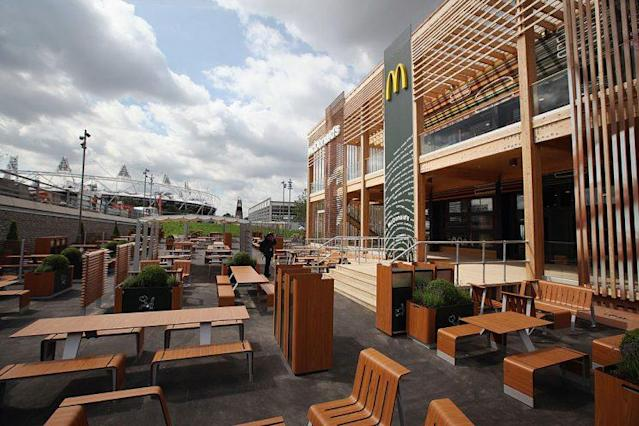 McDonald's have been mainstays of Olympic villages, like this one from London 2012. (Getty)