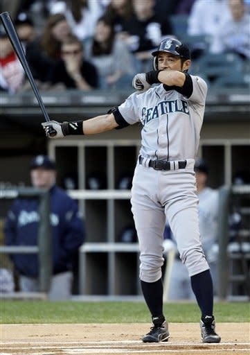 Seattle Mariners' Ichiro Suzuki, of Japan, wipes his face during the first inning of a baseball game against the Chicago White Sox in Chicago, Friday, June 1, 2012. (AP Photo/Nam Y. Huh)