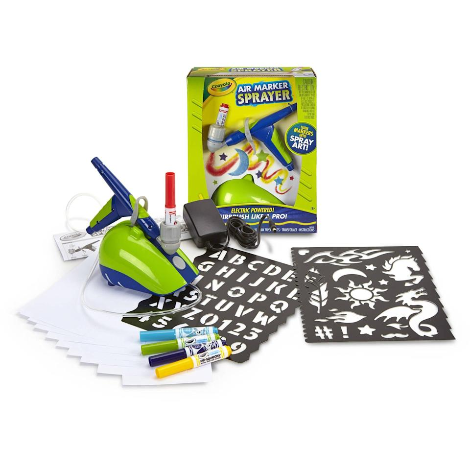 """<p>A reboot of the old marker airbrush set (Remember having to pump it to make the colors flow?), the <a href=""""https://www.popsugar.com/buy/Crayola-Air-Marker-Sprayer-330032?p_name=Crayola%20Air%20Marker%20Sprayer&retailer=amazon.com&pid=330032&price=20&evar1=moms%3Aus&evar9=25997679&evar98=https%3A%2F%2Fwww.popsugar.com%2Fphoto-gallery%2F25997679%2Fimage%2F42741550%2FCrayola-Air-Marker-Sprayer&list1=holiday%2Cgift%20guide%2Ckid%20shopping%2Choliday%20living%2Choliday%20for%20kids&prop13=api&pdata=1"""" class=""""link rapid-noclick-resp"""" rel=""""nofollow noopener"""" target=""""_blank"""" data-ylk=""""slk:Crayola Air Marker Sprayer"""">Crayola Air Marker Sprayer</a> ($20) allows kids to create airbrushed works of art with a continuous spray - no more pumping - and without the mess of paint.</p>"""