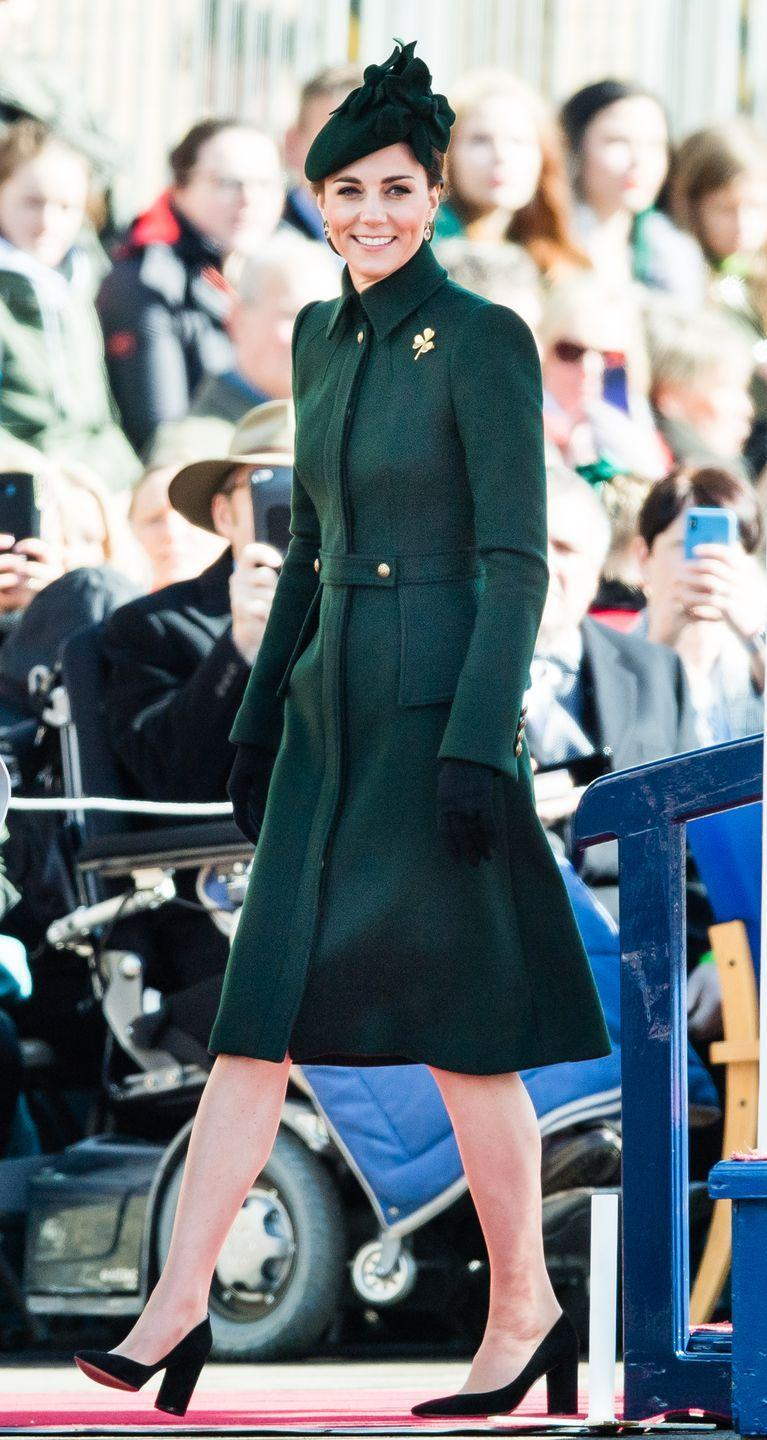 <p>I'm green with envy because I want this coat in my closet now! Here, Kate is in a custom Alexander McQueen, which she wore to a St. Patrick's Day Parade in 2019...</p>