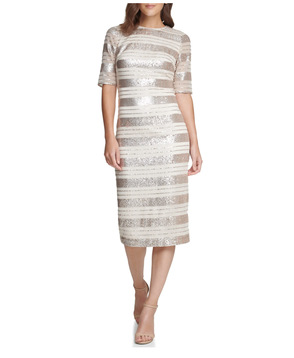 Vince Camuto Sequin Stripe Midi Dress. Image via Nordstrom.