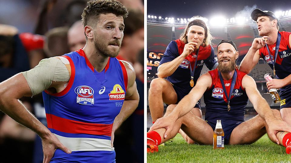 A somewhat petty act after the AFL Grand Final could set the stage for a bitter rivalry between the Bulldogs and Demons, Sam McClure believes. Pictures: Getty Images