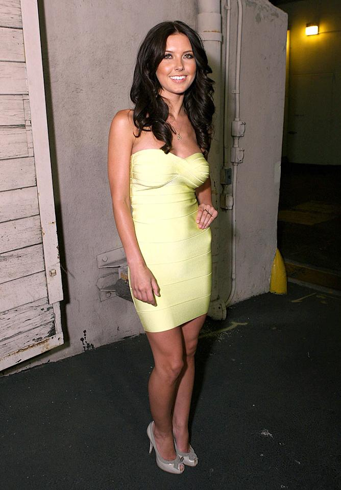 """L.C.'s on-screen costar Audrina Patridge looks quite uncomfortable in her lousy lemon dress and ghastly gray heels. Chris Weeks/<a href=""""http://www.wireimage.com"""" target=""""new"""">WireImage.com</a> - May 21, 2008"""