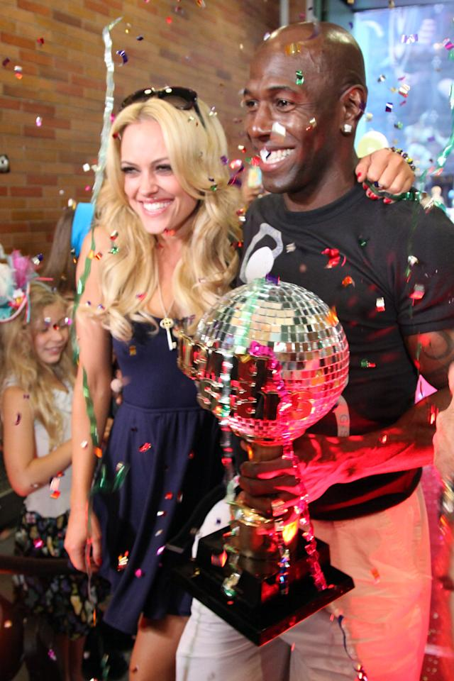 """NEW YORK, NY - MAY 23:  """"Dancing With The Stars"""" winners Peta Murgatroyd and Donald Driver (R) arrive at ABC's """"Good Morning America"""" in Times Square on May 23, 2012 in New York City.  (Photo by Taylor Hill/Getty Images)"""