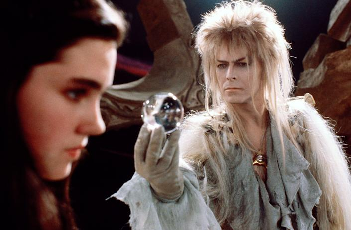 David Bowie in costume for movie Labrynth (PictureLux / The Hollywood Archive / Alamy Stock Photo)