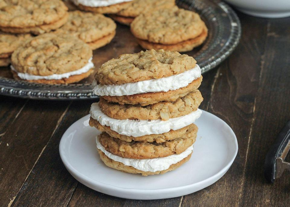 """<p>Marshmallow creme filling blows regular frosting out of the water.</p><p>Get the recipe from <a href=""""https://www.delish.com/cooking/recipe-ideas/recipes/a43671/peanut-butter-oatmeal-sandwich-cookies-marshmallow-creme-filling-recipe/"""" rel=""""nofollow noopener"""" target=""""_blank"""" data-ylk=""""slk:Delish"""" class=""""link rapid-noclick-resp"""">Delish</a>.</p>"""