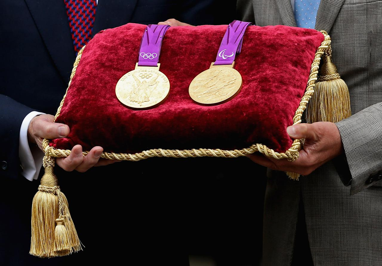 LONDON, ENGLAND - JULY 02:  A close-uop of the medals as official metal supplier for the Olympic Games Rio Tinto hands over Olympic and Paralympic medals to LOCOG for secure storage in the vaults at the Tower of London on July 2, 2012 in London, England.  (Photo by Andrew Redington/Getty Images)