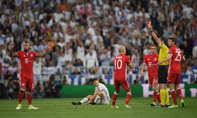 "<span class=""element-image__caption"">Arturo Vidal's undeserved sending off was the turning point in the game.</span> <span class=""element-image__credit"">Photograph: Matthias Hangst/Bongarts/Getty Images</span>"