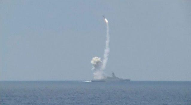 A rocket is launched from a Russian corvette in the Mediterranean Sea at militant targets in Syria. Picture: Reuters/Ministry of Defence of the Russian Federation