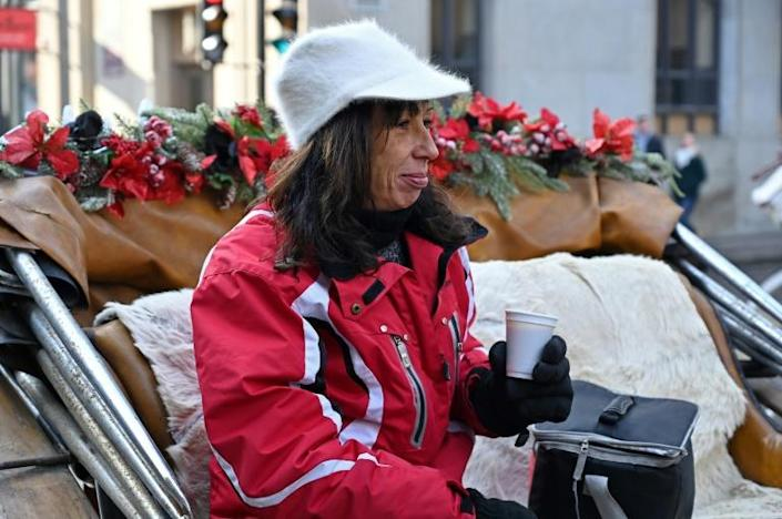 Coachwoman Nathalie Matte, 52, who's about to lose her job after Montreal's horse-drawn carriages will be taken off the roads on December 31, waits for passengers in Montreal, Quebec, Canada on December 22, 2019.Montreal's horse-drawn carriages will be taken off the roads on December 31, ending a long feud between the city and coachmen and a quaint means of local travel that dates back to the 1600s. (AFP Photo/Eric THOMAS)