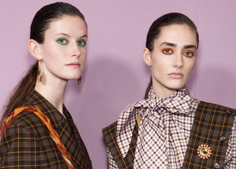 <p>Models at Mulberry had their eyes lined in every key shade of the season—green, orange, and purple. </p>