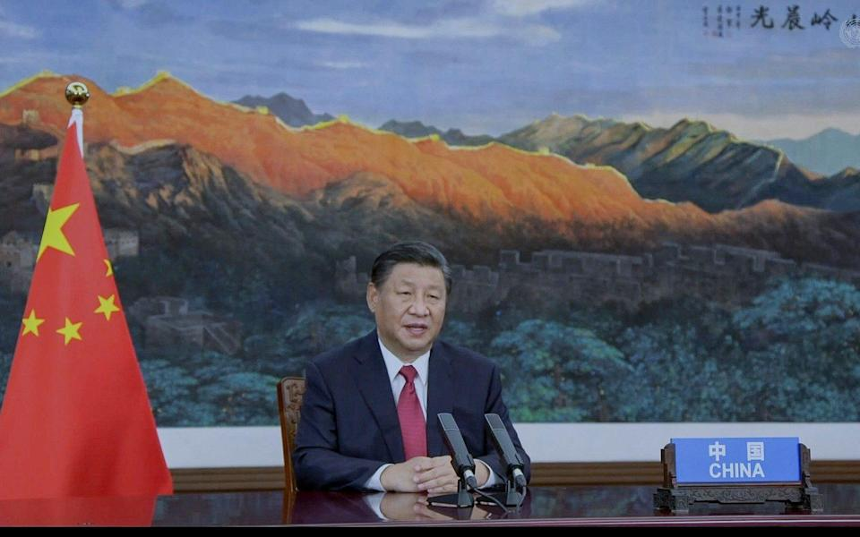 China's President Xi Jinping remotely addresses the 76th session of the United Nations General Assembly in a pre-recorded message - AP