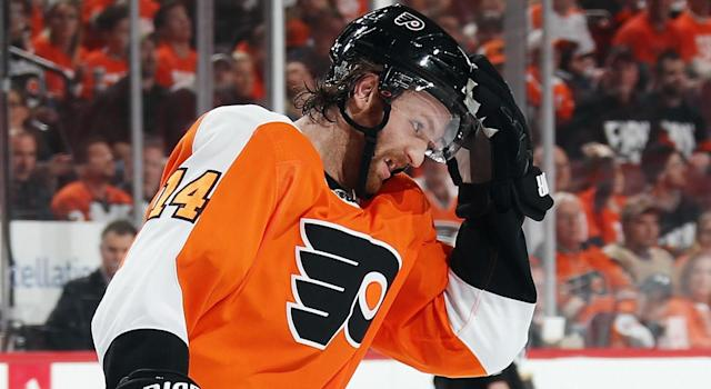 "<a class=""link rapid-noclick-resp"" href=""/nhl/players/5369/"" data-ylk=""slk:Sean Couturier"">Sean Couturier</a> had a rough time at practice on Tuesday. (Photo by Bruce Bennett/Getty Images)"