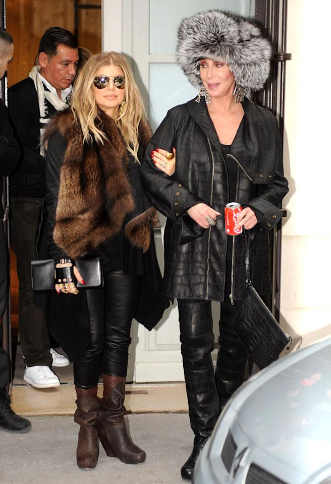 "Who knew? Famous one-name females Fergie and Cher were spotted hanging out together on Thursday in Paris. The two were participating in a birthday celebration for jewelry designer and former Hollywood manager Loree Rodkin and witnesses reported to omg! that Cher, 66, an expectant Fergie, 37, and a gaggle of other pals have been ""having an amazing couple of days"" together. They've taken in three fashion shows, had dinner together, and have been shopping at Rick Owens. Sounds like fun! (2/28/2013)"