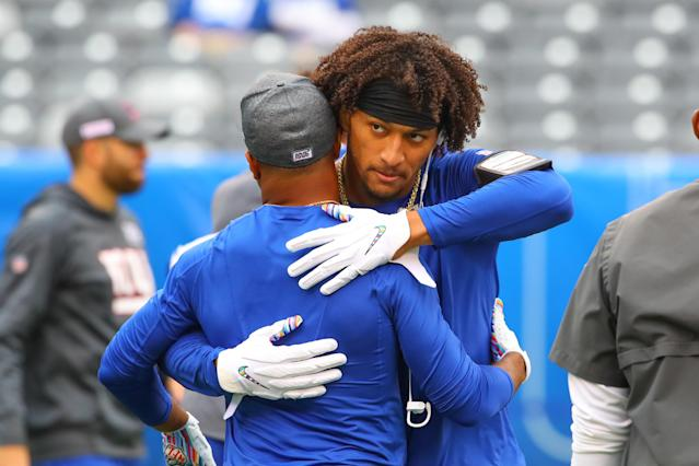 Tight end Evan Engram (right) and wide receiver Golden Tate are expected to return for the Giants on Monday. (Rich Graessle/Icon Sportswire/Getty Images)