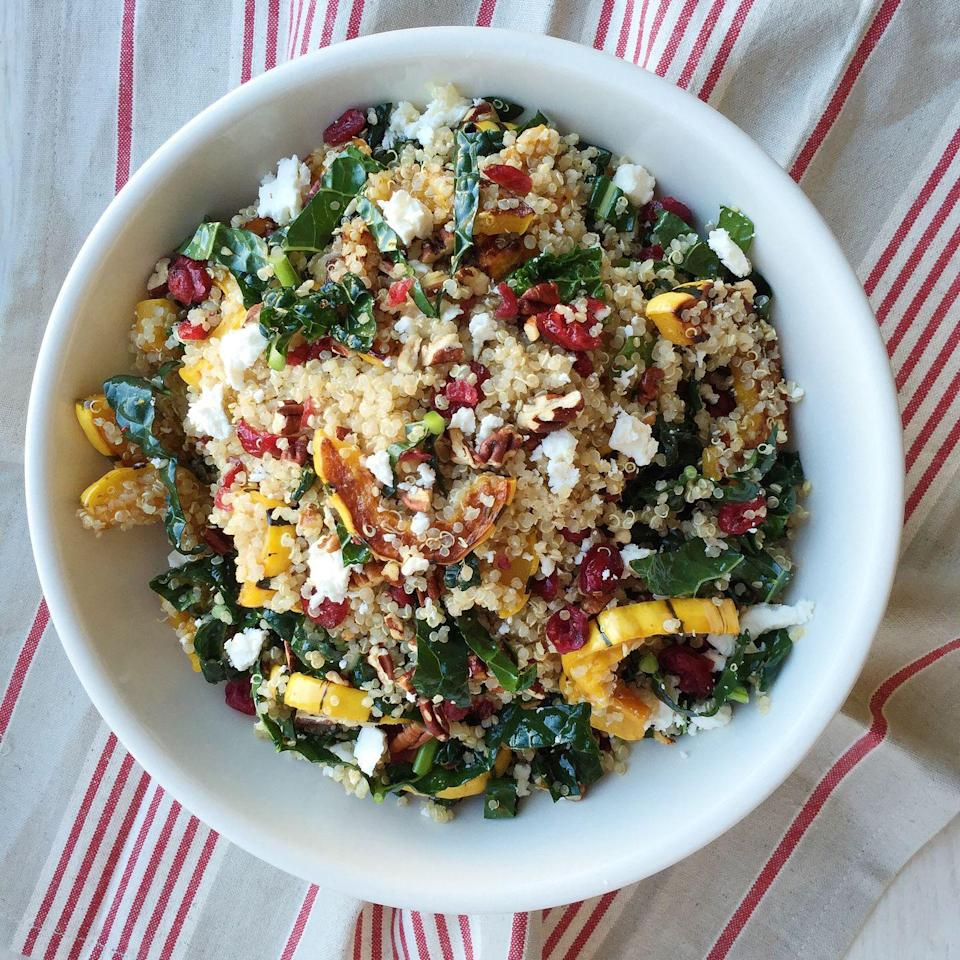 """<p>Proof that quinoa salads are anything but boring: This recipe loaded with sweet roasted squash, kale, and feta is a total flavor bomb.</p><p>Get the recipe from <a href=""""/cooking/recipe-ideas/recipes/a44963/quinoa-salad-with-roasted-squash-dried-cranberries-and-pecans-recipe/"""" data-ylk=""""slk:Delish"""" class=""""link rapid-noclick-resp"""">Delish</a>.</p>"""