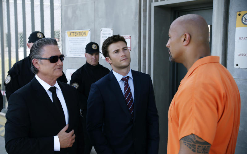 """This image released by Universal Pictures shows Kurt Russell, from left, Scott Eastwood and Dwayne Johnson in """"The Fate of the Furious."""" (Universal Pictures via AP)"""