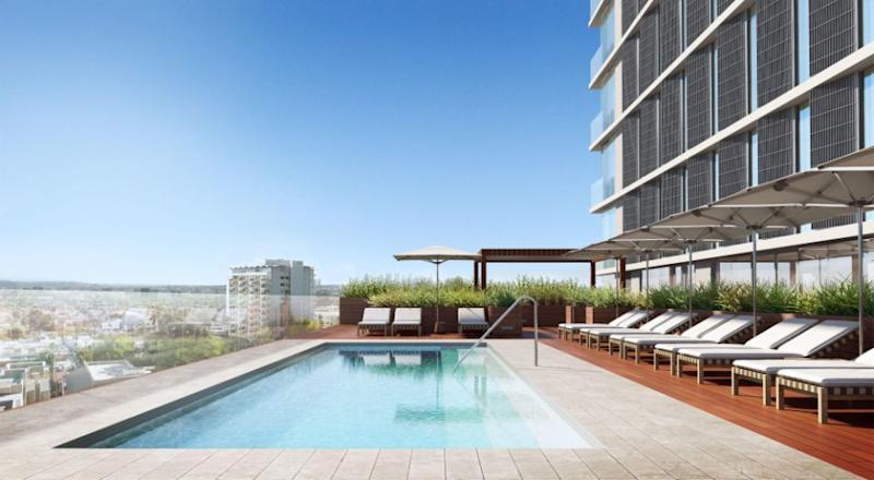 The pool deck at The Jeremy Hotel West Hollywood. Photo: Supplied